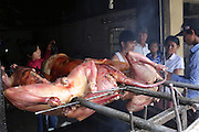 South East Asia, Cambodia, Phnom Penh. Dog meat butchered and barbedcued for consumption in restaurants on the outskirts of Phnom Penh.<br /><br />Whilst some people eat dog meat, it is not commonplace. But it is a poorman's meat as it is a cheaper than beef, pork or chicken. The practice of hunting and catching stray dogs is common place, and sometimes even poaching domestic dogs. The Khmer prefer wild dog to 'farm' grown dogs. However the dogs are often treated inhumanely, and killed by strangulation or even boiled alive. It is thought by some that a dog filled with fear makes better meat. The animal is shaved and butchered. Favorite khmer dishes include dog paw curry and dog's head.<br /><br />Dog meat is eaten all over the world. An estimated 25 million dogs are eaten every year. For some societies eating dog is taboo, for others its acceptable.