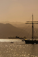 Sailing ships moored in the Gulf of Eilat, Eilat, Israel.