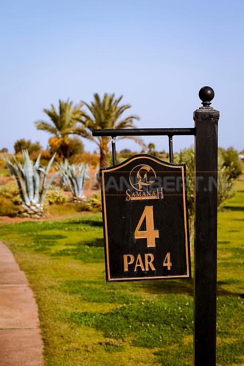06-10-2015 -  Foto van Holenummer bij SamanaH Country Club in Marrakech, Marokko. De 18 holes van de Samanah Country Club zijn ontworpen door Nicklaus Design en het resort heeft een David Leadbetter Golf Academy.