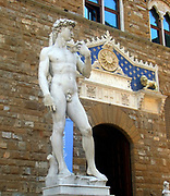 A replica of Michelangelo's masterpiece 'David' which stands in front of the Palazzo Vecchio in the Piazza della Signoria. Florence, Italy. The original was made between 1501-1504 and unveiled on the 8th of September 1504, and subsequently moved to the Accademia Gallery in 1873. This replica was placed here in 1910. It represents the biblical hero David.