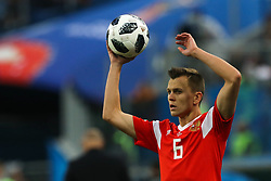June 19, 2018 - Saint Petersburg, Russia - Denis Cheryshev of the Russia national football team vie for the ball during the 2018 FIFA World Cup match, first stage - Group A between Russia and Egypt at Saint Petersburg Stadium on June 19, 2018 in St. Petersburg, Russia. (Credit Image: © Igor Russak/NurPhoto via ZUMA Press)