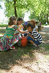 Group of friends washing fruits in bucket of water at picnic, Munich, Bavaria, Germany