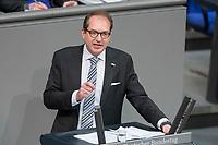 21 MAR 2019, BERLIN/GERMANY:<br /> Alexander Dobrindt, CSU, Vorsitzender der CSU-Landesgruppe, Bundestagsdebatte zur Regierungserklaerung der Bundeskanzlerin zum Europaeischen Rat, Plenum, Deutscher Bundestag<br /> IMAGE: 20190321-01-106