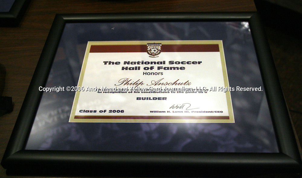 28 August 2006: The plaque presented to 2006 inductee Philip Anschutz. The National Soccer Hall of Fame Induction Ceremony was held at the National Soccer Hall of Fame in Oneonta, New York.