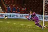 Brighton U18 goalkeeper Robert Lynch Sanchez  can't stop winning penalty during the FA Youth Cup match between U18 Nottingham Forest and U18 Brighton at the City Ground, Nottingham, England on 10 December 2015. Photo by Simon Davies.