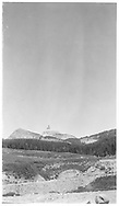 A distant view of Lizard Head Peak as seen from the RGS Snow siding.<br /> RGS  Snow, CO  ca. ? 1957<br /> Also at RD137-032.<br /> Thanks to Don Bergman for additional information.
