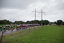 The peloton ascends the climb in the third short lap of the Crescent Vargarda - a 152 km road race, starting and finishing in Vargarda on August 13, 2017, in Vastra Gotaland, Sweden. (Photo by Balint Hamvas/Velofocus.com)