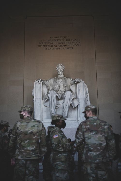 Washington DC, USA - January 22, 2021: Members of the Kentucky National Guard deployed to Washington DC visit the Lincoln Memorial during some time off.