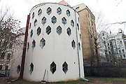 Moscow, Russia, 25/04/2013..The cylindrical Melnikov House [1927-1929], the most famous construction by Soviet avant-garde architect Konstantin Melnikov, in central Moscow. The house, which is slowly collapsing, is the subject of a complex dispute between the architect's grand-daughter Ekaterina, who lives there and wants to turn it into a museum, her sister Elena, and businessman Sergei Gordeev.