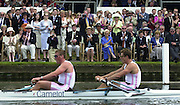 Henley on Thames, United kingdom,   The crowd in the Stewards enclousure clap home, Bow James CRACKNELL and Matthew PINSENT, competing in the Silver Goblets and Nickalls' Challenge Cup, at the Annual 2002 Henley Royal Regatta, Henley Reach, River Thames, England, [Mandatory Credit: Peter Spurrier/Intersport Images] 6/7/2002 - Sat. 20020703 Henley Royal Regatta, Henley, Great Britain
