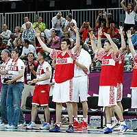 04 August 2012: Russia players celebrate during 77-74 Team Russia victory over Team Spain, during the men's basketball preliminary, at the Basketball Arena, in London, Great Britain.