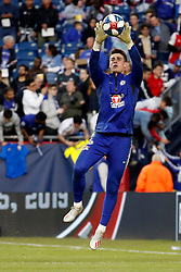 May 15, 2019 - Foxborough, MA, U.S. - FOXBOROUGH, MA - MAY 15: Chelsea FC goalkeeper Kepa Arrizabalaga (1) snares a cross before the Final Whistle on Hate match between the New England Revolution and Chelsea Football Club on May 15, 2019, at Gillette Stadium in Foxborough, Massachusetts. (Photo by Fred Kfoury III/Icon Sportswire) (Credit Image: © Fred Kfoury Iii/Icon SMI via ZUMA Press)