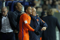 (L-R) assistant trainer Fred Grim of Holland, assistant trainer Ruud Gullit of Holland, Memphis Depay of Holland, coach Dick Advocaat of Holland during the FIFA World Cup 2018 qualifying match between Belarus and Netherlands on October 07, 2017 at Borisov Arena in Borisov,  Belarus