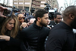 """After bonding out, """"Empire"""" television actor Jussie Smollett leaves the Cook County Jail in Chicago, IL, USA, February 21, 2019. A Chicago judge has said charges that US actor Jussie Smollett staged a hoax hate crime against himself are """"utterly outrageous"""" and """"despicable"""" if true. The 36-year-old African-American actor is accused of filing a fake police report claiming he was the victim of a homophobic and racist assault. Photo by Terrence Antonio James/Chicago Tribune/TNS/ABACAPRESS.COM"""