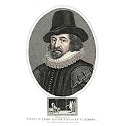 Portrait of Francis Lord Bacon [Francis Bacon, 1st Viscount St Alban, Kt PC QC (22 January 1561 – 9 April 1626), also known as Lord Verulam, was an English philosopher and statesman who served as Attorney General and as Lord Chancellor of England. His works are seen as developing the scientific method and remained influential through the scientific revolution]. Copperplate engraving From the Encyclopaedia Londinensis or, Universal dictionary of arts, sciences, and literature; Volume II;  Edited by Wilkes, John. Published in London in 1810