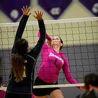 Madison Hyatt spikes the ball for the Miyamura Patriots in a match against the Gallup Bengals Oct. 4, 2018 at Miyamura High School in Gallup.