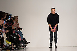 Designer Eudon Choi greets the public after presenting the Autumn/Winter 2017 London Fashion Week show at BFC Show Space, London. PRESS ASSOCIATION. Picture date: Friday February 17, 2017. Photo credit should read: Isabel Infantes/PA Wire