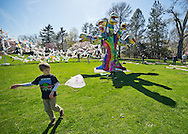 At Celebrate Earth Day at Nassau County Museum of Art, people bring plastic bags to recycle into art work by building a String Sculpture, with artists from NYC art collective Free Style Arts Association. Thora the Explorer, a two-year-old hedgehog, was one of the animals the Science Museum of Long Island Hands on Science Activity Center brought. Children painted colorful pictures on long rolls of paper spread out on the museum lawn.