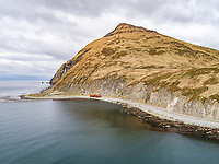Aerial view of bay and shipwreck in Alaska, Dutch Harbor, USA.