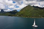 French Polynesia, Moorea, Sailboat in the bay