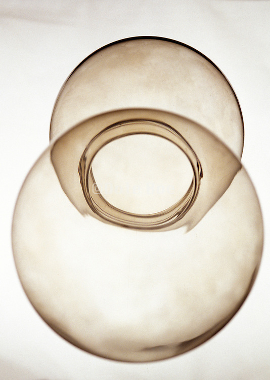 Abstract circular shapes of a round glass bowl