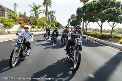 Cycle Zombies ride-out - Taylor, Turk, Scotty, Chase and Big Scott Stopnik. Huntington Beach, CA. USA. . June 29, 2015.  Photography ©2015 Michael Lichter.