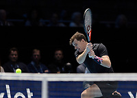 Tennis - 2017 Nitto ATP Finals at The O2 - Day Seven<br /> <br /> Mens Doubles: Semi Final 2 : Jamie Murray (Great Britain) & Bruno Soares (Brazil) Vs Henri Kontinen (Finland) & John Peers (Australia) <br /> <br /> Jamie Murray (Great Britain) with a double handed forehand return at the O2 Arena<br /> <br /> COLORSPORT/DANIEL BEARHAM
