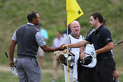 March 29, 2019 - Austin, Texas, United States - Tiger Woods (L) shakes hands with Patrick Cantlay after winning his match on the 16th hole during the third round of the 2019 WGC-Dell Technologies Match Play at Austin Country Club. (Credit Image: © Debby Wong/ZUMA Wire)