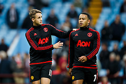 Adnan Januzaj and Memphis Depay of Manchester United talk before the game - Mandatory byline: Rogan Thomson/JMP - 07966 386802 - 14/08/2015 - FOOTBALL - Villa Park Stadium - Birmingham, England - Aston Villa v Manchester United - Barclays Premier League.