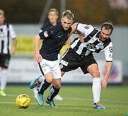 Falkirk's Craig Sibbald and St Mirren's Andy Webster. <br /> Falkirk 3 v 0 St Mirren. Scottish Championship game played 21/10/2015 at The Falkirk Stadium.