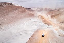 Airat Mardeev, Dmitrii Svistunov and Akhmet Galiaudinov in the Kamaz of the KAMAZ Master Team navigating in the sand during stage 4 of the Dakar Rally, between Arequipa and Tacna, Peru, on January 10, 2019.