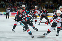 KELOWNA, CANADA - SEPTEMBER 28: Kole Lind #16 of Kelowna Rockets takes a shot against the Prince George Cougars on September 28, 2016 at Prospera Place in Kelowna, British Columbia, Canada.  (Photo by Marissa Baecker/Shoot the Breeze)  *** Local Caption *** Kole Lind;