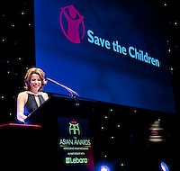 Save the childre Ambassador Natasha Kaplinsky talks about Save the Childrens work before a fundraising auction.