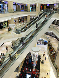 Interior view of modern shopping mall in Orchard Road in Singapore