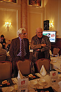Charles Wheeler and Clive James. The Oldie Of The Year Awards,  Simpsons in the Strand, London. 22 March 2005. ONE TIME USE ONLY - DO NOT ARCHIVE  © Copyright Photograph by Dafydd Jones 66 Stockwell Park Rd. London SW9 0DA Tel 020 7733 0108 www.dafjones.com