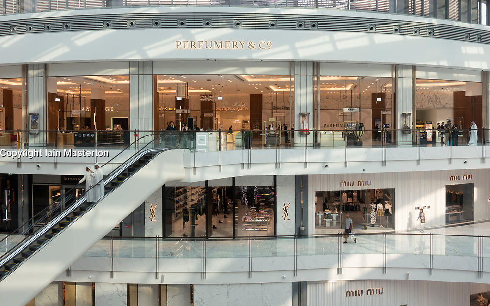 Interior of new extension to the Dubai Mall, the Fashion Avenue , housing high-end shops and shopping with luxury brands, in Dubai, United Arab Emirates.