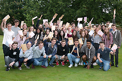 © Licensed to London News Pictures. 14/08/2014. Solihull, West Midlands, UK. A level results announced at Solihull School earlier today. Students celebrating their results. Photo credit : Dave Warren/LNP