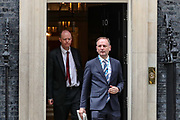 Britain's Chief Medical Officer Chris Whitty (L) and Britain's Chief Executive of NHS England Simon Stevens (R) leaves Downing Street, London, after a meeting on Wednesday, March 18, 2020. <br /> For most people, the new coronavirus causes only mild or moderate symptoms, such as fever and cough. For some, especially older adults and people with existing health problems, it can cause more severe illness, including pneumonia. (Photo/Vudi Xhymshiti)