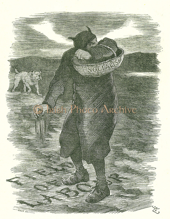 Sowing Tares':  Fear that Socialism was  spreading amongst the British labour force. John Tenniel cartoon from 'Punch', London, 27 February 1886.
