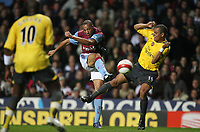 Photo: Rich Eaton.<br /> <br /> Aston Villa v Arsenal. The Barclays Premiership. 14/03/2007. John Carew centre of Aston Villa shoots, tackled by Gilberto