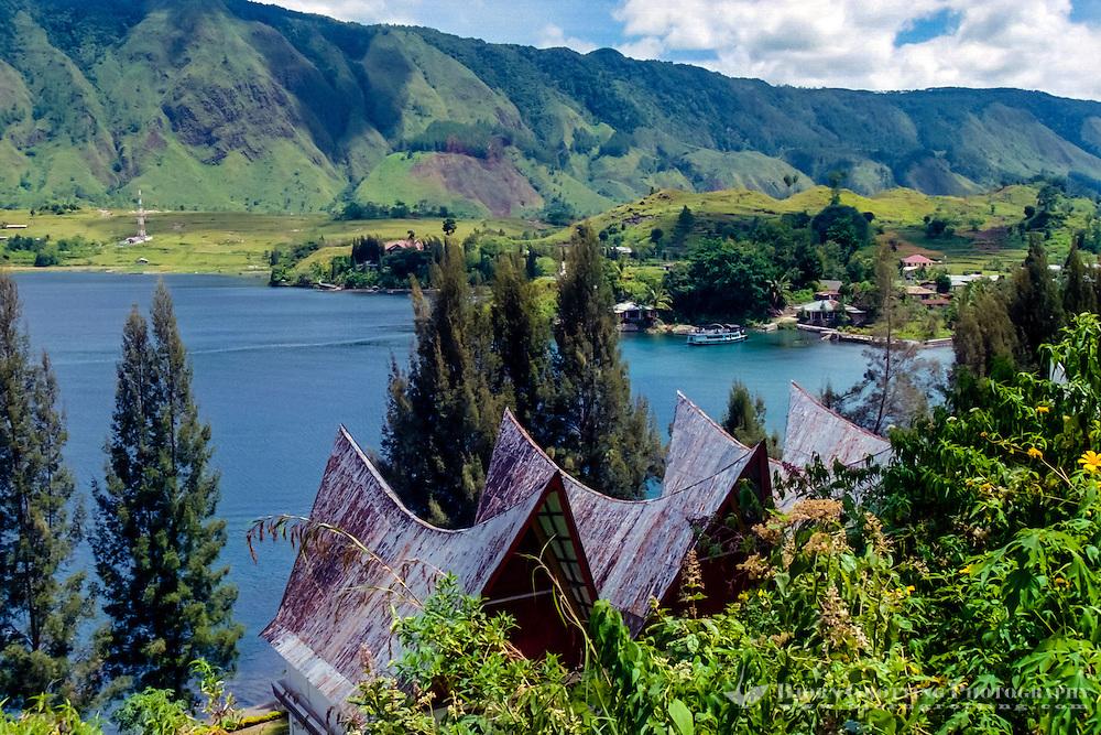 Indonesia, Sumatra. Samosir. The southern bay of Tuk Tuk with Samosir in the background. Tuk Tuk is a small peninsula, and part of Samosir island.
