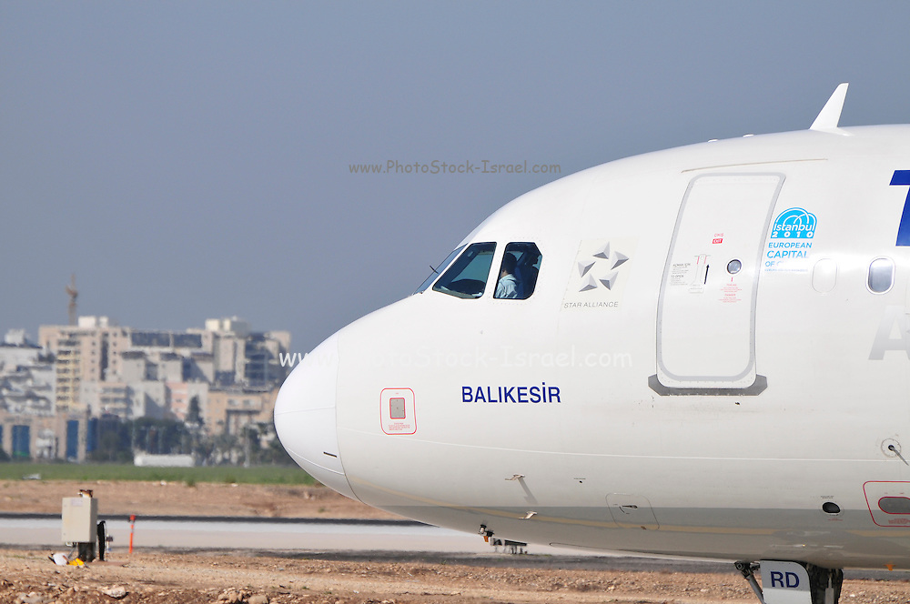 Israel, Ben-Gurion international Airport Turkish Airlines Airbus A330 passenger jet ready for takeoff