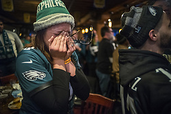 February 4, 2018 - Minneapolis, MN, USA - With a victory almost in hand, Philadelphia Eagles fan Samantha Hubbs is overcome with emotion at the Blarney Pub and Grill on Sunday, Feb. 4, 2018, in Minneapolis, Minn. (Credit Image: © Richard Tsong-Taatarii/TNS via ZUMA Wire)