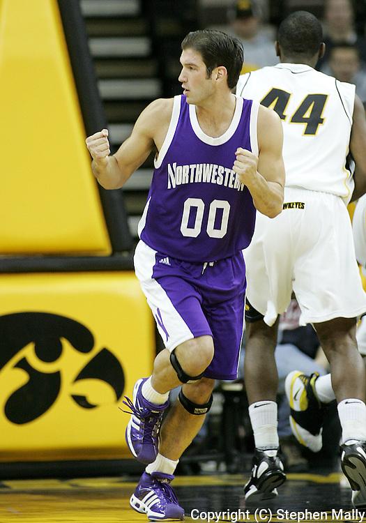 15 FEBRUARY 2007: Northwestern guard/foward Tim Doyle (00) after a score in Iowa's 66-58 win over Northwestern at Carver-Hawkeye Arena in Iowa City, Iowa on February 15, 2007.