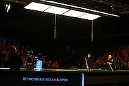 Ronnie O'Sullivan (r) in action against Neil Robertson in the final. .Betvictor Welsh Open snooker 2016, Final day at the Motorpoint Arena in Cardiff, South Wales on Sunday 21st  Feb 2016.  <br /> pic by Andrew Orchard, Andrew Orchard sports photography.