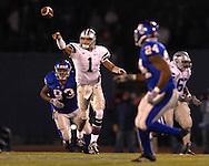 Kansas State quarterback Josh Freeman tosses the ball up field in the second half against Kansas at Memorial Stadium in Lawrence, Kansas, November 18, 2006.  Kansas beat K-State 39-20.<br />