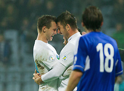Tim Matavz of Slovenia and Bostjan Cesar celebrate during football match between National teams of Slovenia and Cyprus in 3rd Round of Group E of FIFA World Cup 2014 Qualification on October 12, 2012 in Stadium Ljudski vrt, Maribor, Slovenia. (Photo By Vid Ponikvar / Sportida)