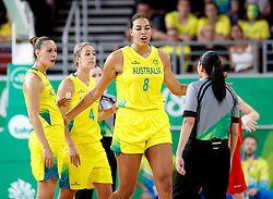 Australia's Elizabeth Cambage is ejected in the Women's Gold Medal Game at the Gold Coast Convention and Exhibition Centre during day ten of the 2018 Commonwealth Games in the Gold Coast, Australia.