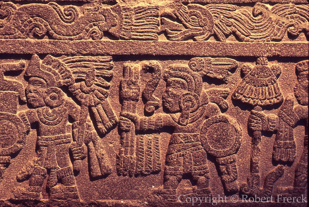 MEXICO, MEXICO CITY, MUSEUM Aztec: the 'Warriors Stone'