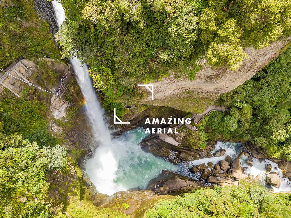Aerial view of Cascada El Pailon del diablo waterfall in Province of Chimborazo in Ecuador.